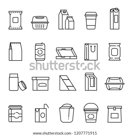 Food packaging symbols, line art icon set. Containers, packaging materials for processed and raw foods, beverages. Vector line art illustration on white background