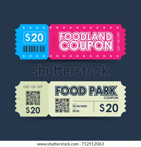 Food park and foodland coupon ticket card. Retro element template for design. Vector illustration.