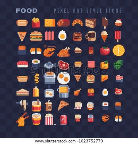Food pixel art 80s style icons element design stickers, logo, mobile app, menu. Game assets 8-bit sprite sheet. Fast food, seafood, pastries, ice cream, meat, fruit iIsolated vector illustration.