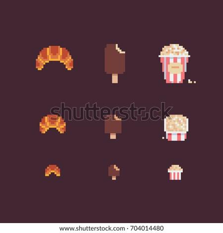 food, pixel art style vector icons set.