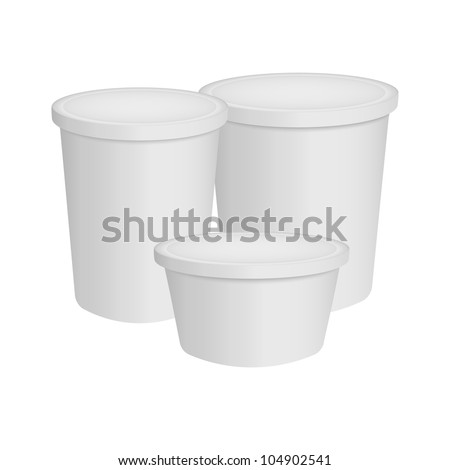 food plastic container , dessert, yogurt, ice-cream, sour cream - stock vector