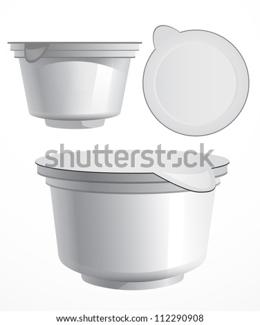 Food plastic container , dessert, yogurt, ice-cream, sour cream with cover at different angles