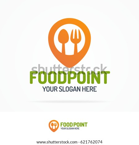 Food point logo set consisting of spoon, fork and pin for use cafe, vegan shop, healthy food store, farm fresh market, natural product firm etc. Vector Illustration