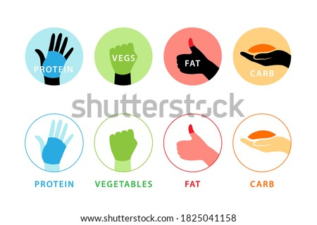 Food portion icons measured by hand. Diet concept illustration. Stock photo ©