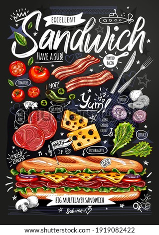 Food poster, ad, fast food, ingredients, menu, sandwich, sub, snack. Sliced veggies, cheese, ham, bacon. Yummy cartoon style isolated. Hand drawn vector ストックフォト ©