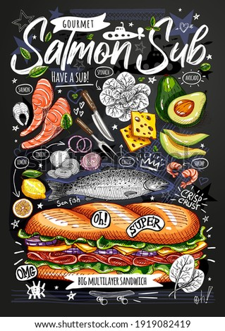 Food poster, ad, fast food, ingredients, menu, sandwich, sub, snack. Sliced veggies, cheese, salmon, avocado. Yummy cartoon style isolated. Hand drew vector ストックフォト ©