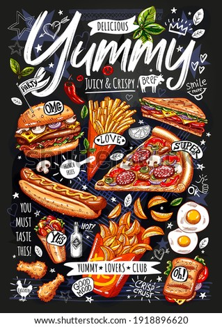 Food poster, ad, fast food, set, menu, burger, pizza slice, sandwich, roll, chiken, fries, hot dog, grilled eggs, snack. Yummy cartoon style isolated. Hand drawn vector