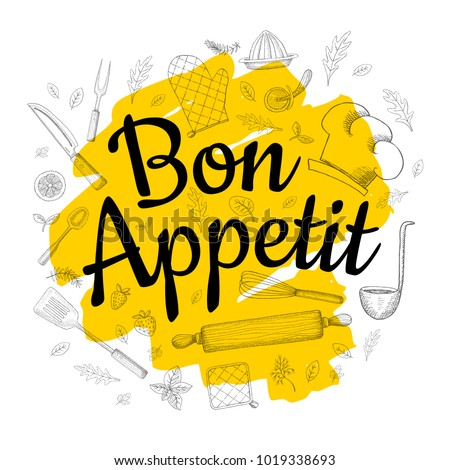 Food Poster Print Lettering. Bon Appetit. Lettering kitchen cafe restaurant decoration. Cutting board, knife, fork, cooking. Hand drawn vector illustration.