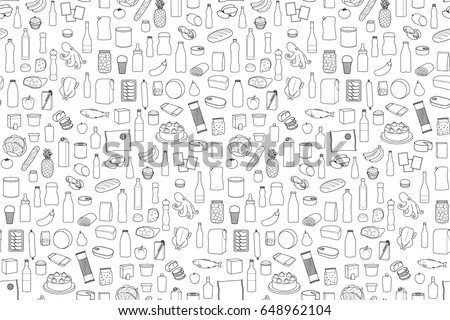 Food product outline set on white background. Coloring page wallpaper with supermarket meal.