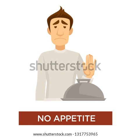 Food rejection no appetite disease or illness symptom vector isolated man and covered tray with meal hunger absence sick condition infection or virus male character refuse to eat body weakness. Foto stock ©