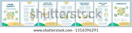 Food safety brochure template layout. Eco products. Flyer, booklet, leaflet print design with linear icons. Healthy nutrition. Cooking. Vector page layouts for magazines, reports, advertising posters