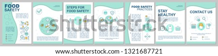 Food safety, hygiene brochure template layout. Foodborne diseases prevention. Flyer, booklet, leaflet print design with linear illustrations. Vector page layouts for magazines, annual reports, posters