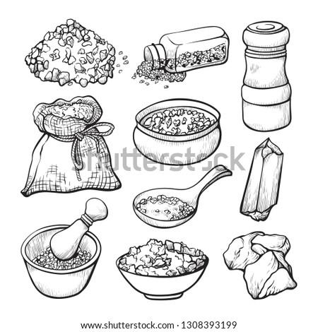 Food salt sketch, natural seasoning and cooking ingredient. Salt for taste and seasoning or preserving food. Vector line art illustration on white background