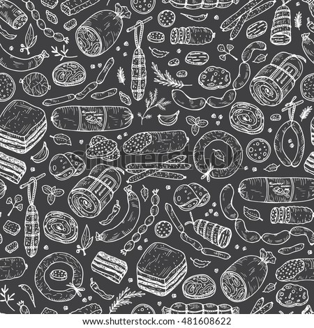 Food. Sausages Seamless pattern. Hand drawn doodle Meat products: Ready sausage, bacon, sliced saveloy, sausage, spicy pepperoni, smoked sausages, stick of salami, baked meatloaf, frankfurters