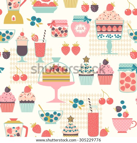 Food seamless pattern with berry sweets