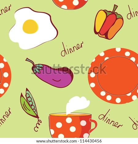 Food seamless pattern with egg, plate, tea and vegetables