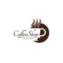 Food service vector logo. coffee shop. dining restaurant cafeteria. design template