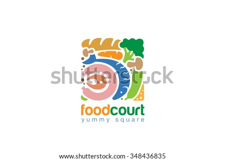 Food set Gourmet Square Logo Shop abstract design vector template. Fish Bread Meat Vegetables assortment Store Logotype concept icon