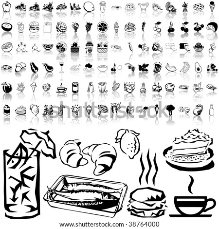 Food set of black sketch. Part 3-1. Isolated groups and layers.