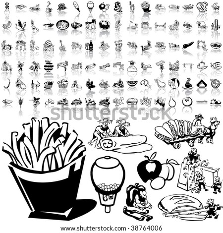 Food set of black sketch. Part 5-1. Isolated groups and layers.