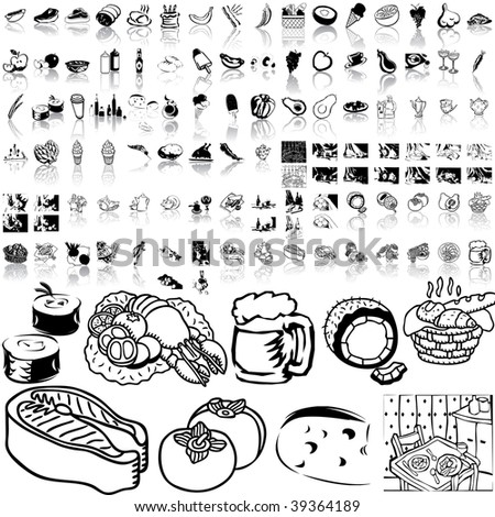 Food set of black sketch. Part 2-3. Isolated groups and layers. - stock vector