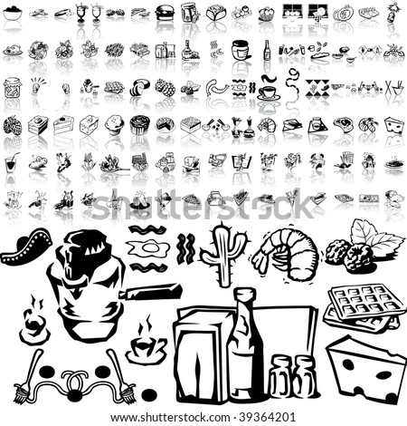 Food set of black sketch. Part 6-3. Isolated groups and layers. - stock vector