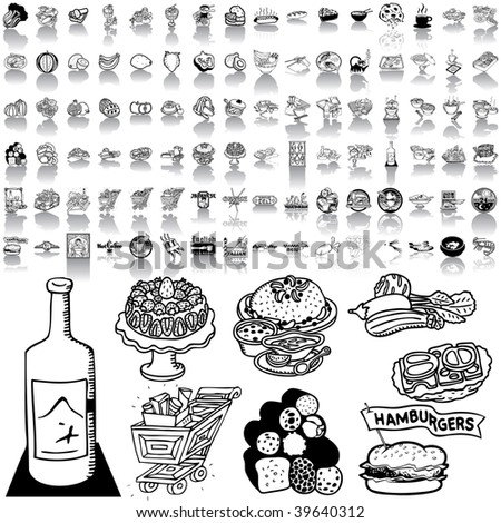 Food set of black sketch. Part 1-4. Isolated groups and layers.