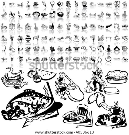 Food set of black sketch. Part 5-6. Isolated groups and layers. - stock vector