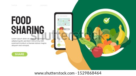 Food sharing project mobile app help restaurant and cafe sell unused food. Vector illustration of share meal and waste reduction. Hand holding smartphone. Template for banner, flyer, landing page, web