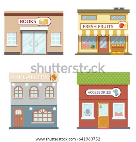 Food shops building set books art fruits Accessories flat design vector illustration