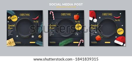 Food social media post template. social media post on Christmas day.