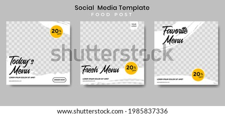 Food social media post template. vector illustration. Set of Editable square banner template design for food post. Suitable for Social Media Post restaurant and culinary. for post, web, ad