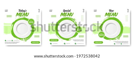 Food social media post template. vector illustration with plate. Set of Editable square banner template design for food post. Suitable for Social Media Post restaurant and culinary. for post, web, ad.