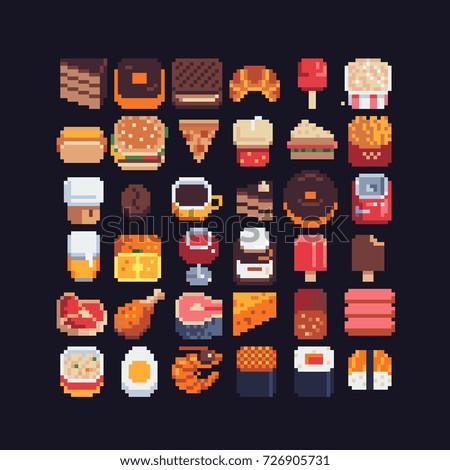 food spites icons set, pixel art style vector illustration.