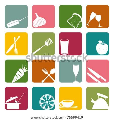 Food square icons set. Illustration vector.