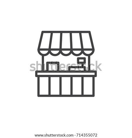 Shutterstock Food stall line icon, outline vector sign, linear style pictogram isolated on white. Symbol, logo illustration. Editable stroke