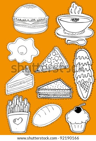 Food Sticker Set - stock vector