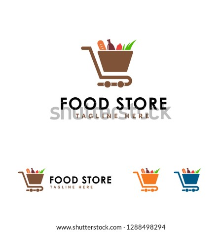 Food Store logo designs concept vector, Store logo template