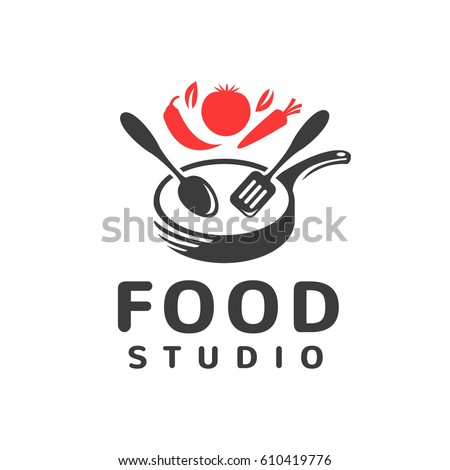 Food studio vector logo. Kitchen tools. Food icon. Cooking logo. Restaurant vector logo template. Cafe logo. Pan icon.