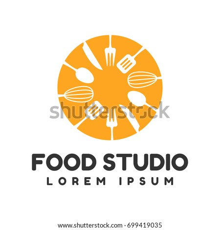Food studio vector logo. Kitchen tools. Food icon. Cooking logo. Restaurant vector logo template. Cafe logo.