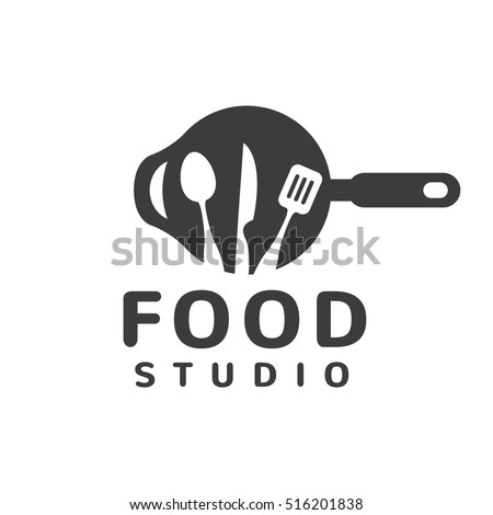 Food studio vector logo. Kitchen tools. Food icon. Food logo. Cooking logo. Restaurant vector logo template. Cafe logo. Pan icon.