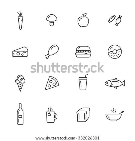 Food thin line icons