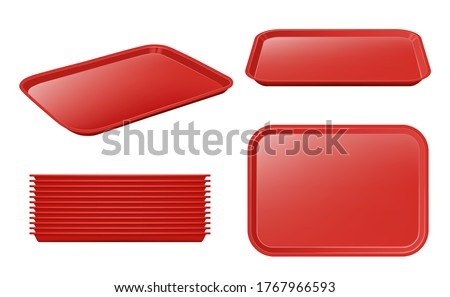 Food tray. Empty plastic plateau realistic vector mockup restaurant equipment for holding products and dishes Foto stock ©