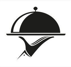 Food tray on the hand holding a dish.Waiters serving icon vector Illustration.Waiter sign.