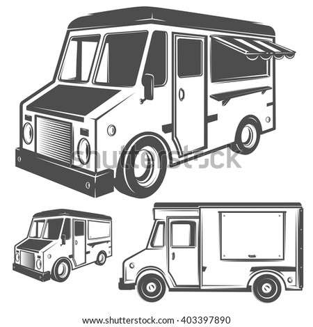 Food truck  and ice cream truck for emblems and logo
