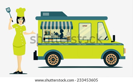 Food Truck Cook with a white background