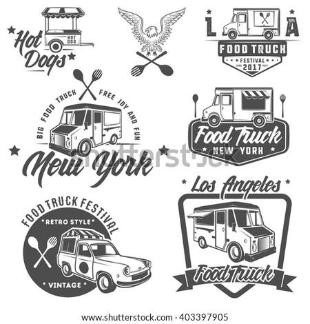 food truck emblems, badges and design elements