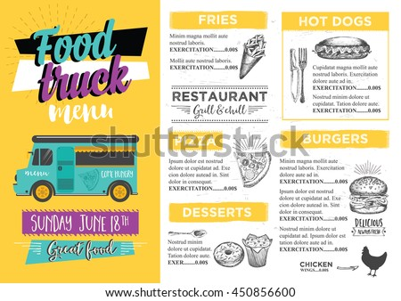 Street Food Truck Festival Poster Download Free Vector Art Stock - Food truck flyer template