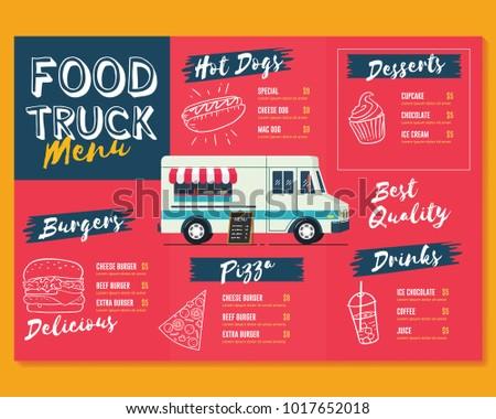 Royalty free food truck festival menu brochure for Food truck menu design