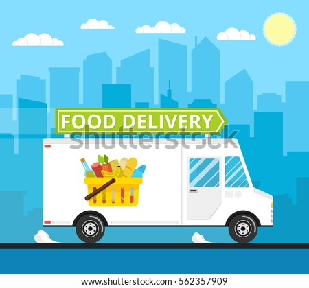 food truck of delivery rides at